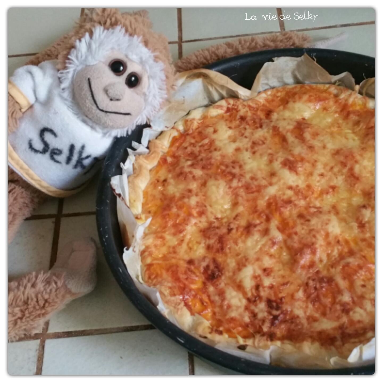 Selky cuisine une tarte au potiron et aux lardons